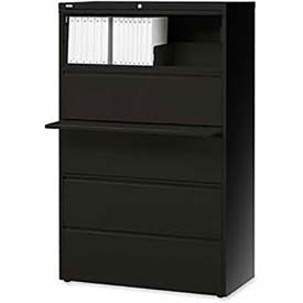 "Lorell® 5-Drawer Lateral File Cabinet, 42""W x 18-5/8""D x 68""H, Black"