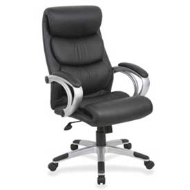 Lorell High-Back Executive Chair, LLR60621, Leather, Black