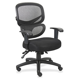 Lorell Mesh-Back Executive Chair, LLR60622, Fabric, Black