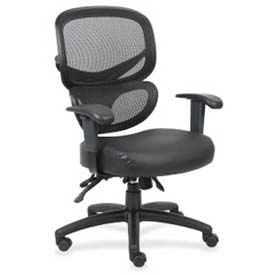 Lorell Mesh-Back Executive Chair, LLR60623, Leather, Black