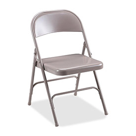 "Lorell® Steel Folding Chair, 19-3/8""W x 18-1/4""D x 29-5/8""H, Beige Steel Seat, 4/Carton"