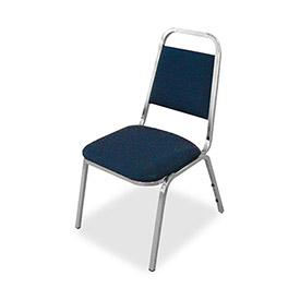 "Lorell® All Purpose Stacking Chair, 26""W x 28""D x 34-3/8""H, Blue Fabric, 4/Carton"