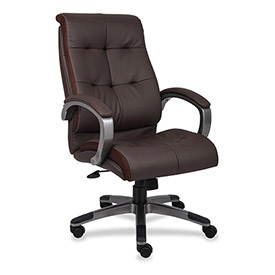Lorell High-Back Executive Chair, LLR62621, Bonded Leather, Brown