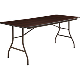 "Lorell® Economy Melamine Top Folding Table, 72""L x 30""W x 29""H, Mahogany"