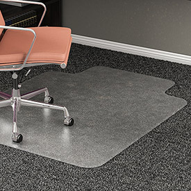 "Lorell® Office Chair Mat for Carpet - 53""L x 45""W, 0.5"" Thick with 12"" x 25"" Lip - Beveled Edge"