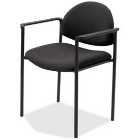 "Lorell® Reception Guest Chair, 23-3/4""W x 23-1/2""D x 30-1/2""H, Black Fabric Seat"
