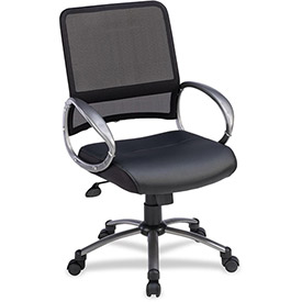 "Lorell® Mid-Back Task Chair, 25""W x 25""D x 42""H, Black Leather Seat/Mesh Back"