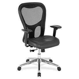 "Lorell® Mid-Back Executive Chair, 25""W x 23-5/8""D x 44""H, Black Leather Seat/Mesh Back"