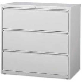 "Lorell High Quality 3-Drawer Lateral File, LLR88032, 42""W x 18-5/8""D x 40-1/4""H, Light Gray"