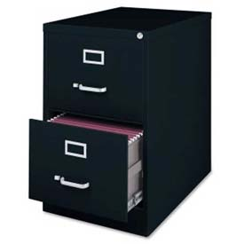 "Lorell Commercial Grade 2-Drawer Vertical File Cabinet, LLR88043, 18""W x 28-1/2""D x 28-3/4""H, Black"