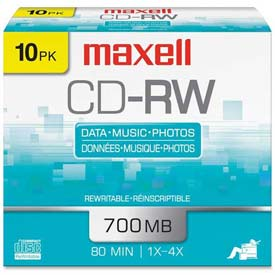 Buy Maxell CD Rewritable Media, MAX630010, CD-RW Media, 4x Speed, 700 MB Capcity