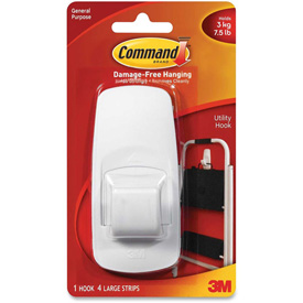 Buy 3M Command Jumbo Hooks,Adhesive,1 Hook/4 Strips,7-1/2 lb Cap., White