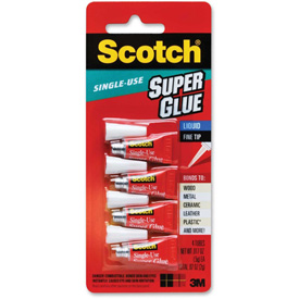 3M Super Glue, Single Use, Pointed Tip, .07oz., 4/PK, Clear by