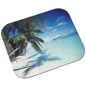 3M™ MP114YL Mouse Pad with Precise Mousing Surface, Non-Skid Back, Tropical Beach