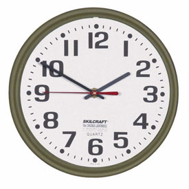 "Buy SKILCRAFT 12"" Slimline Wall Clock, Bronze"