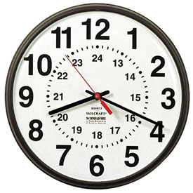"Buy SKILCRAFT 12"" 12/24 Hour Wall Clock, Bronze"