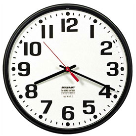 "Buy SKILCRAFT 9.25"" Slimline Wall Clock, Black"