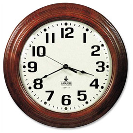 "Buy SKILCRAFT 16"" Hardwood Wall Clock, Mahogany"