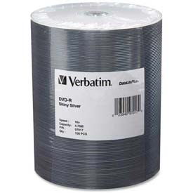 Click here to buy Verbatim DVD-R, 97017, 16X Speed, 4.7GB, 100/Pk, Silver.