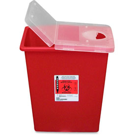 Covidien Biohazard Sharps Container with Hinged Lid, 8 Gal. Capacity, Red