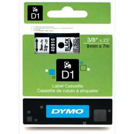"Buy DYMO D1 Standard Labels 3/8"" Black on Clear"