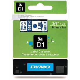 "Click here to buy DYMO D1 Standard Labels 3/8"" Blue on White."