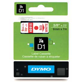 "Buy DYMO D1 Standard Labels 3/8"" Red on White"