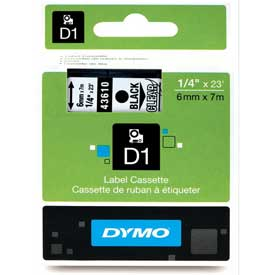 "Buy DYMO D1 Standard Labels 1/4"" Black on Clear"