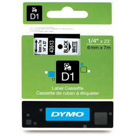 "Buy DYMO D1 Standard Labels 1/4"" Black on White"