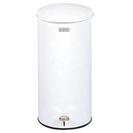 "Round Step-On Waste Receptacle, White, 5 gal., 11""Dia x 22""H"