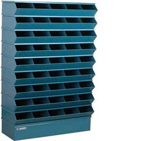 "Stackbin® Steel Hopper Stack Bin, 45 Compartment Sectional Unit, 37""W x 13""D x 54""H, Blue"