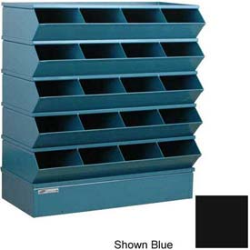 "Stackbin® Steel Hopper Stack Bin, 20 Compartment Sectional Unit, 37""W x 15""D x 43-1/2""H, Black"