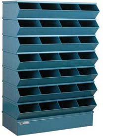"Stackbin® Steel Hopper Stack Bin, 28 Compartment Sectional Unit, 37""W x 15""D x 58-1/2""H, Blue"