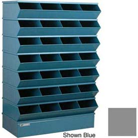 "Stackbin® Steel Hopper Stack Bin, 28 Compartment Sectional Unit, 37""W x 15""D x 58-1/2""H, Gray"