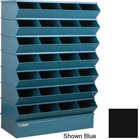 "Stackbin® Steel Hopper Stack Bin, 32 Compartment Sectional Unit, 37""W x 15""D x 58-1/2""H, Black"