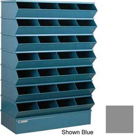 "Stackbin® Steel Hopper Stack Bin, 32 Compartment Sectional Unit, 37""W x 15""D x 58-1/2""H, Gray"