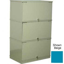 Stackbin® Three-Shelf Lockable X-Ray Storage Cabinet, Blue