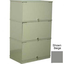 Stackbin® Three-Shelf Lockable X-Ray Storage Cabinet, Gray
