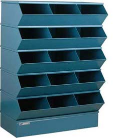 "Stackbin® Steel Hopper Stack Bin, 15 Compartment Sectional Unit, 37""W x 20""D x 53-1/2""H, Blue"