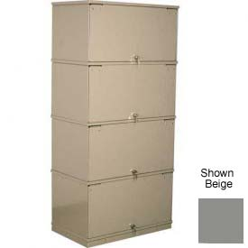 Stackbin® Four-Shelf Lockable X-Ray Storage Cabinet, Gray
