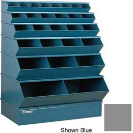 "Stackbin® Steel Stack Bin, 28 Compartment Multi-Size Sectional Unit 37""W x 24""D x 53""H, Gray"