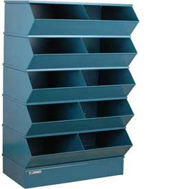 "Stackbin® Steel Hopper Stack Bin, 10 Compartment Steel Sectional Unit, 37""W x 24""D x 55""H, Blue"