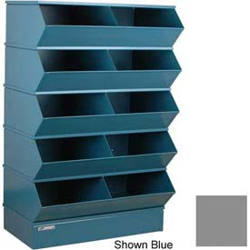 "Stackbin® Steel Hopper Stack Bin, 10 Compartment Steel Sectional Unit, 37""W x 24""D x 55""H, Gray"