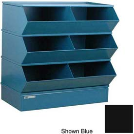 "Stackbin® Steel Hopper Stack Bin, 6 Compartment Steel Sectional Unit, 37""W x 24""D x 33""H, Black"