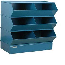 "Stackbin® Steel Hopper Stack Bin, 6 Compartment Steel Sectional Unit, 37""W x 24""D x 33""H, Blue"