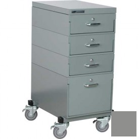 Stackbin® Single Drawer Bank Mobile 4 Drawer Cabinet, Steel Top Finish, Gray