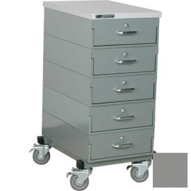 Stackbin® 16 x 24 x 36 Mobile 5 Drawer Cabinet, Laminate Finish, Gray