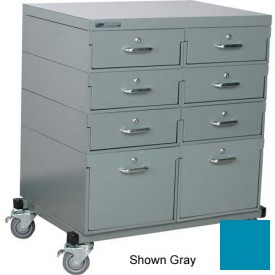 Stackbin® Double Drawer Bank 32 x 24 x 36 Mobile 8 Drawer Cabinet, Steel Top Finish, Blue