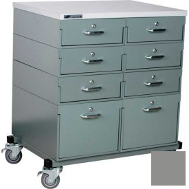 Stackbin® Double Drawer Bank 32 x 24 x 36 Mobile 8 Drawer Cabinet, Laminate Finish, Gray