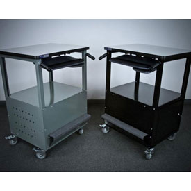 "Stackbin Enclosed Bottom Computer Cart, 30""W x 24""D x 40""H, Gray"